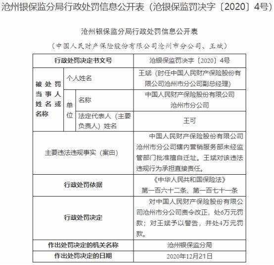 人保财险沧州分公司违法遭罚 营销服务部擅自迁址