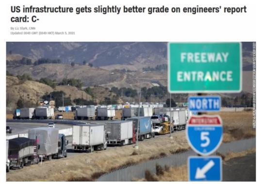 """美国基建水平被评""""不及格"""" 就这已是20"""