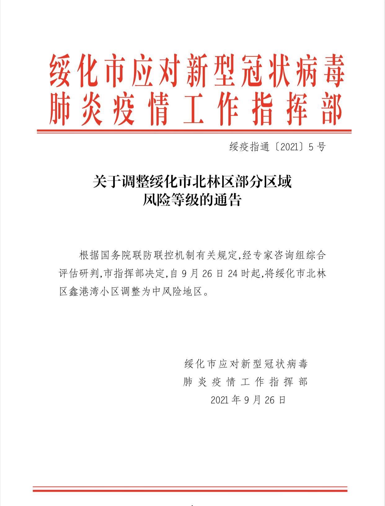 黑龙江绥化3名阳性感染者居住小区调整为中风险等级
