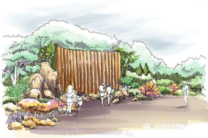 手绘群落结构景观意向图