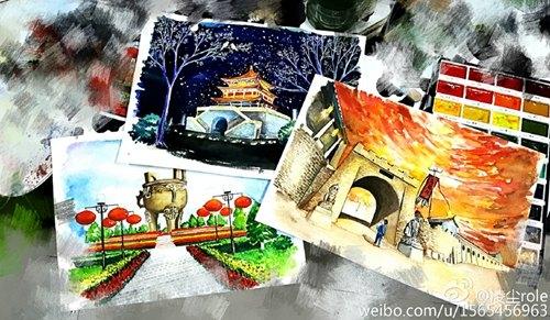 大学生手绘咸阳八景 古朴厚重跃然纸上(图)图片