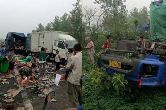 河河南邓州境内两货车深夜追尾 半挂车车头被撞掉