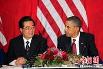胡锦涛与奥巴马共同会见中美企业家