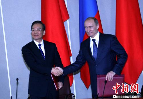 温家宝会见俄总理普京