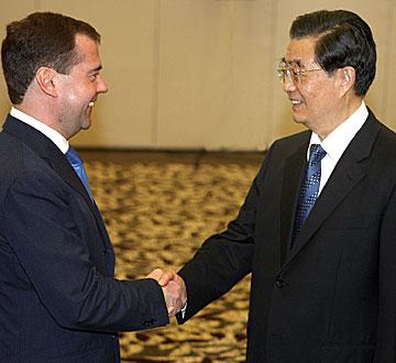 胡锦涛在海南会见俄罗斯总统梅德韦杰夫
