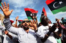 的黎波里民众游行庆祝卡扎菲之死