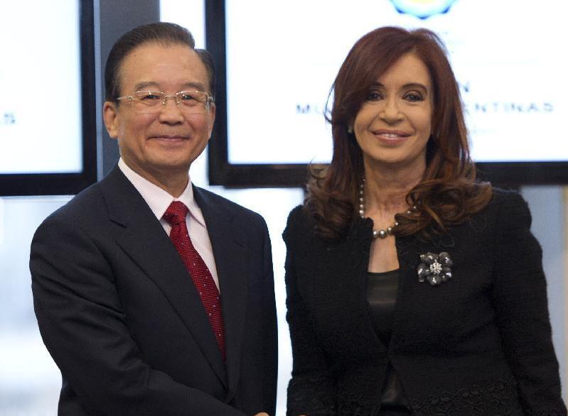 温家宝与阿根廷总统克里斯蒂娜会谈