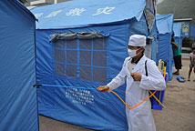 彝良地震灾区开展消毒防疫工作