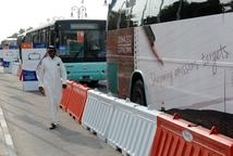 低碳细节:代表乘公共大巴出行