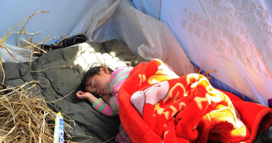 甘肃岷县永星村搭起帐篷 支起宝宝临时之家