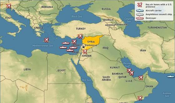 美国在叙利亚周围军力部署
