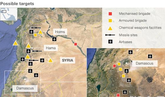 五角大楼列出的叙利亚军事打击目标