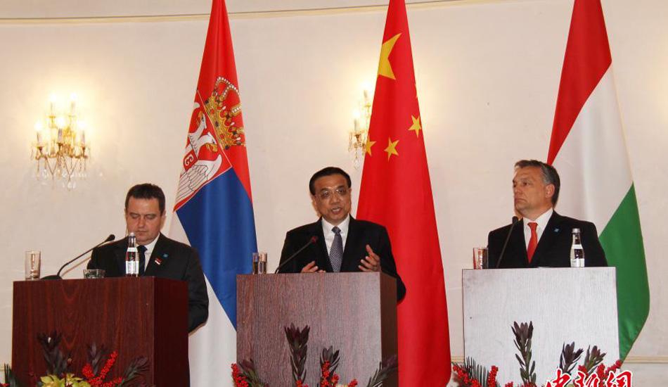 李克强与塞尔维亚、匈牙利总理共同会见记者