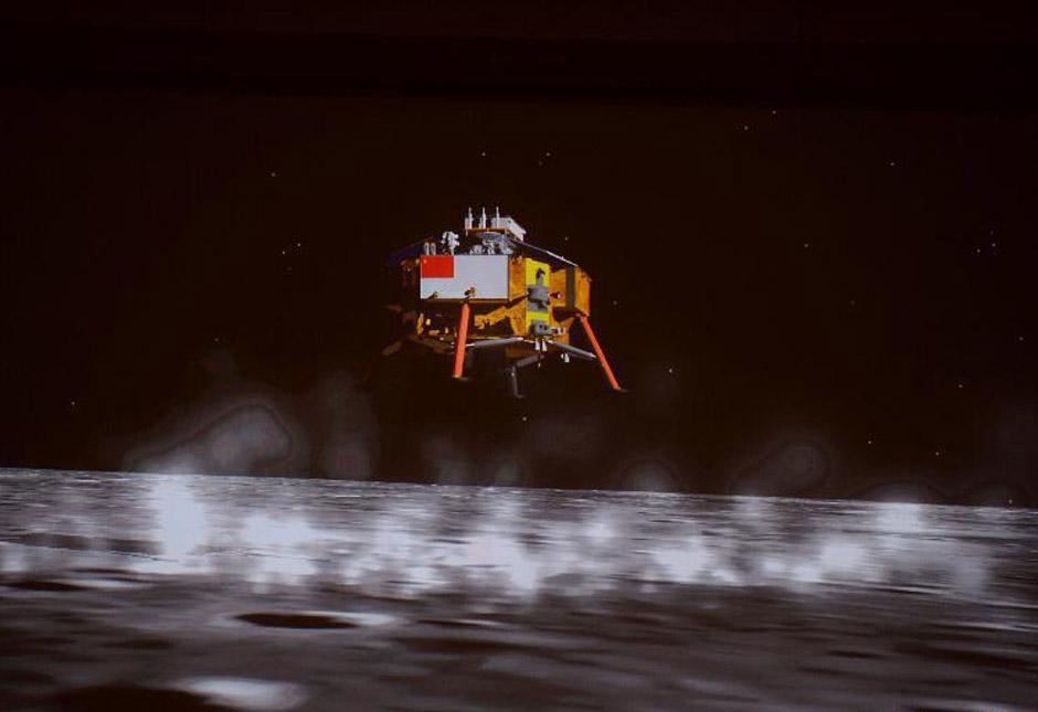嫦娥三号在月球实施软着陆