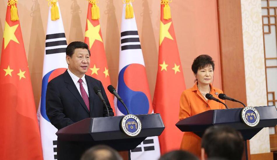 习近平同韩国总统朴槿惠共同会见记者