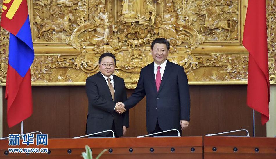 习近平同蒙古国总统额勒贝格道尔吉举行会谈