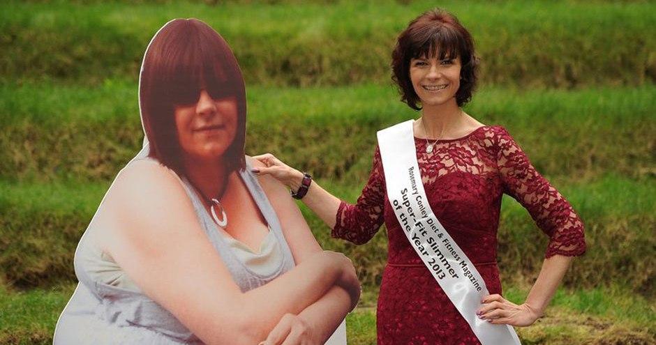 英杂志评选减肥达人 与肥胖的自己合影大秀反差