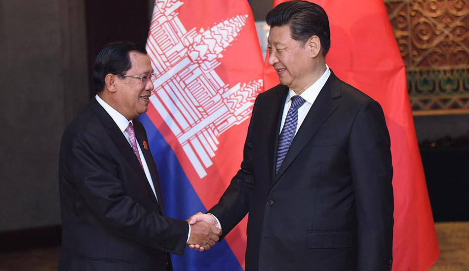 习近平会见柬埔寨首相洪森