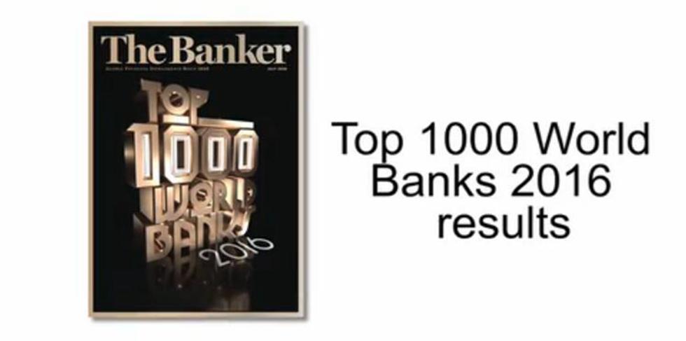 """2016年在英国《银行家》""""2016年全球银行1000强排名""""中,按截至2015年12月31日资产总额计,在全球银行中位居第22位。"""