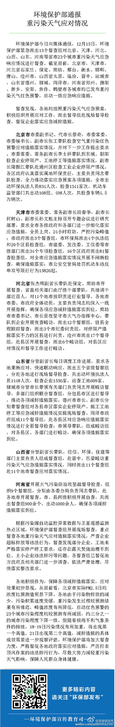 各地应对重污染天气效果显现 北京PM2.5浓度比预测值下降