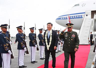习近平抵达马尼拉开始对菲律宾共和国进行国事访问