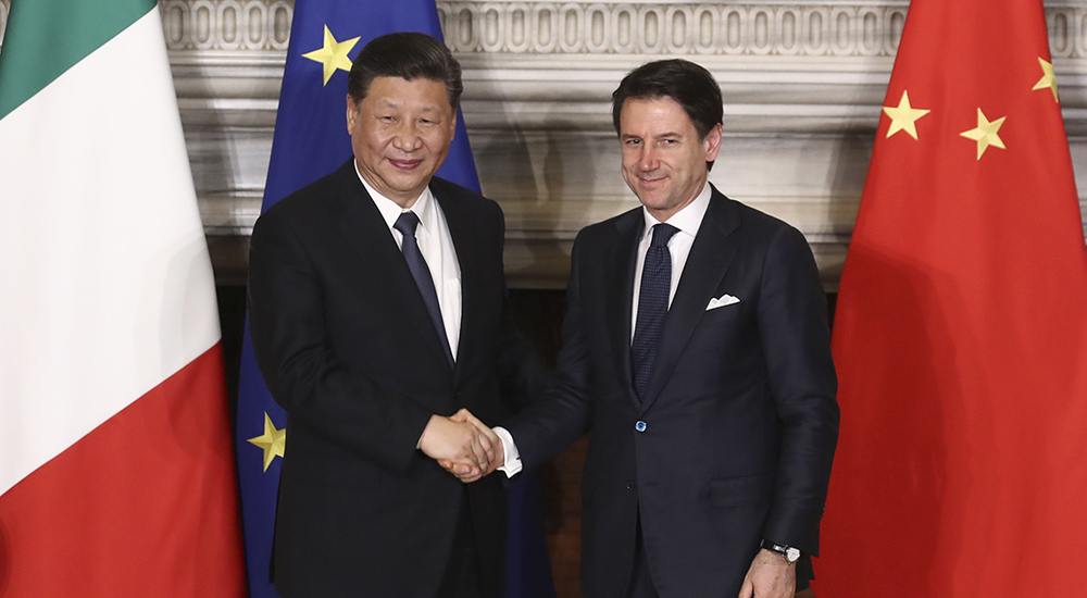 习近平同意大利总理孔特举行会谈