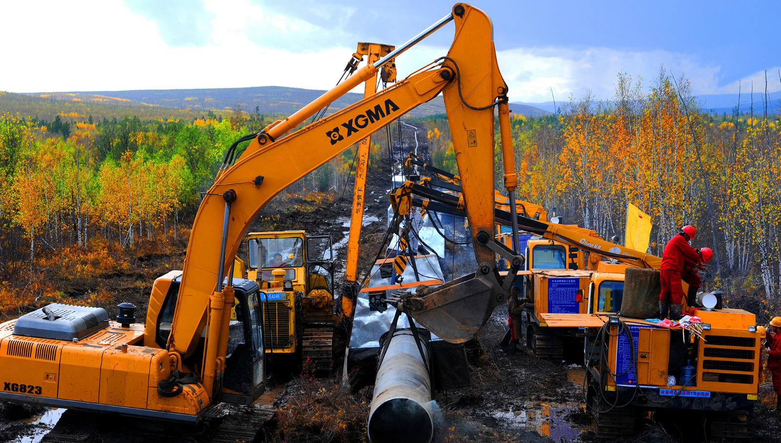 中俄原油管道二线工程建设现场