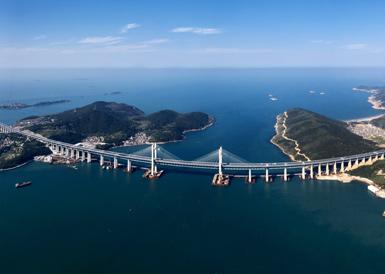 航拍壮观的平潭海峡公铁大桥