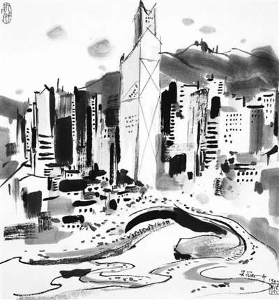 两岸城市简笔画