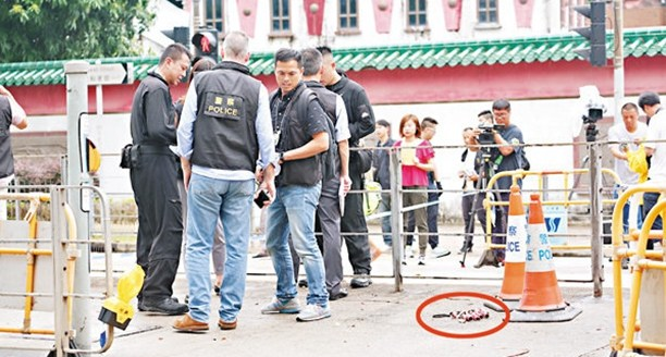"""香港九龙塘现""""诈弹"""" 引爆后证实仅为纸皮"""