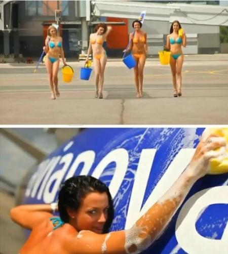俄航公司拍性感广告揽客 半裸空姐洗飞机(组图