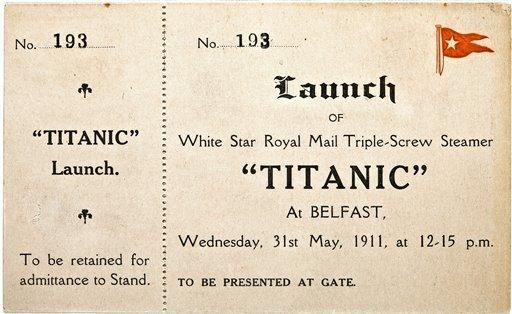 泰坦尼克�z物在�~�s拍�u包括首航船票晚餐菜��