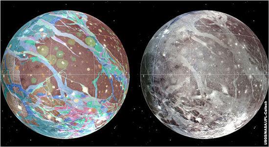 """科学家绘制""""木卫三""""地质图显示复杂特征(图)"""