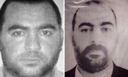 最大 巴格达/伊拉克国家反恐中心发布的巴格达迪最初照片(左);伊拉克内政部...