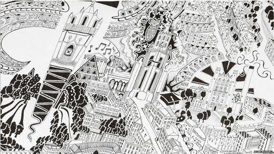 艺术家绘制城市手绘地图 精细复杂引人入胜(图)