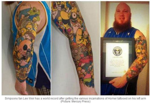 男子左臂纹41个辛普森卡通人物破世界纪录(图)