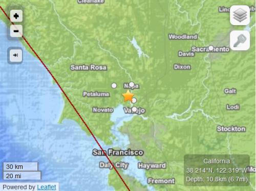 美国加州旧金山北部发生6.0级地震震源深度11千米