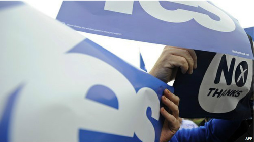 苏格兰公投民调难测未来每阵营举办活动拉票