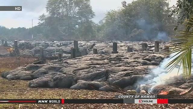 夏威夷一火山喷发 岩浆流进山脚日本人墓地(图)