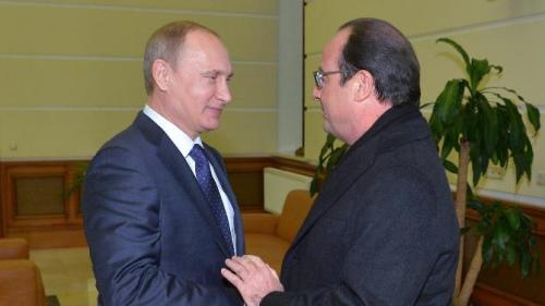 普京机场会晤奥朗德 称望乌克兰达永久停火协议