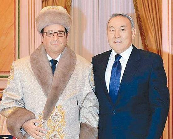 法国总统奥朗德穿中亚民族服装引网友戏谑(图)