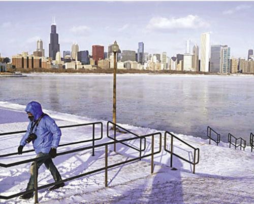 """美国遭遇最冷北极寒流""""局地气温降至零下40度"""