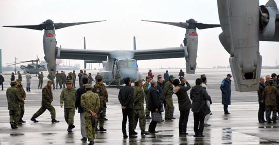 """民众反对 日本自卫队取消展示""""鱼鹰""""机训练"""