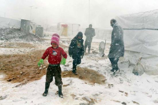 暴风雪致叙难民境遇更艰难 联合国加紧提供援助