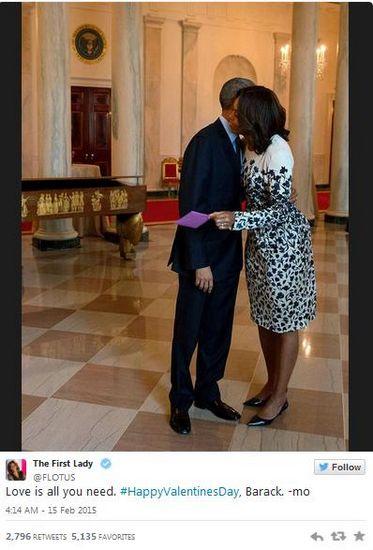 奥巴马再次与米歇尔独过情人节 两人隔空传情(图)
