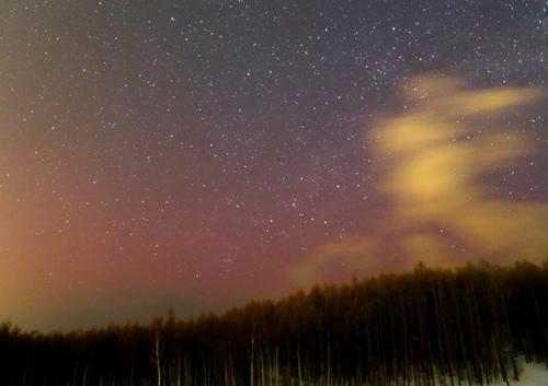 日本北海道现极光点亮夜空美轮美奂(图)