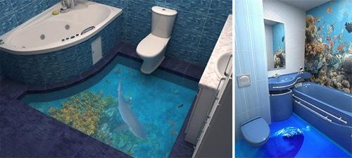 迪拜公司打造3D地板能让洗手间变海洋世界(图)