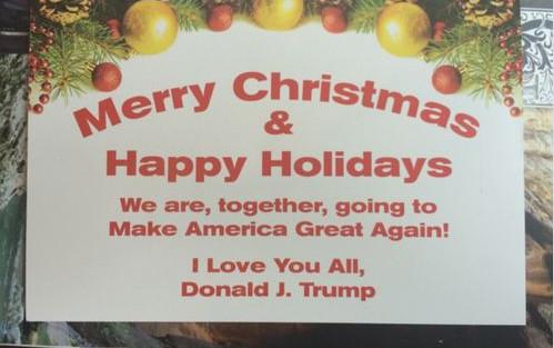 特朗普发出圣诞贺卡 使用中性节日祝贺词(图)