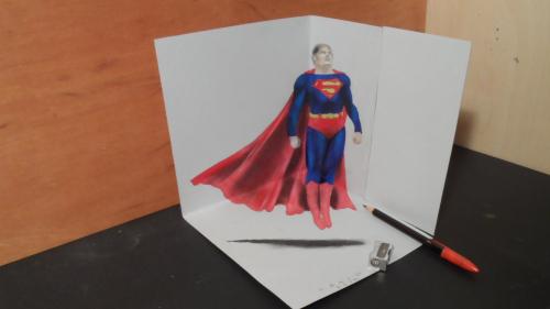 纸上超人凌空飞:艺术家制3D超人栩栩如生(组图)