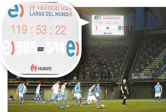 智利2000余人参与历时120小时足球赛破世界纪录